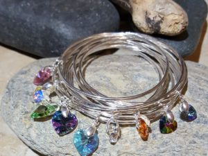 2mm bangles with various swarovski crystals