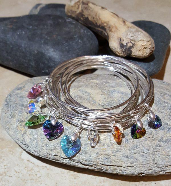 2mm bangles with various swarovski crystals