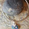 Aqua AB swarovski heart on sterling silver bangle