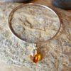 Tangerine swarovski heart on sterling silver bangle