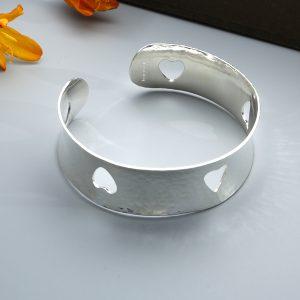 handmade sterling silver Open heart cuff