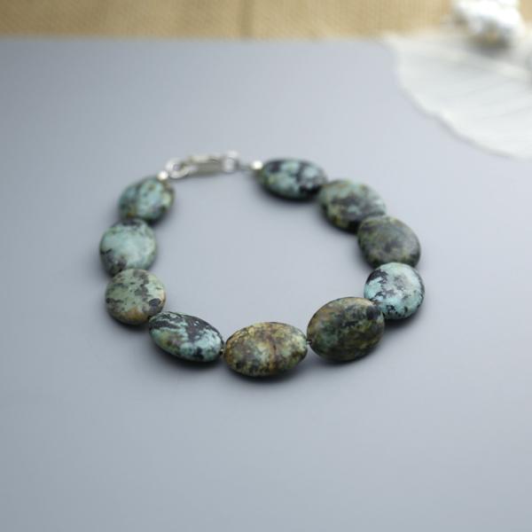 Semi-precious gemstone bracelet oval african jasper