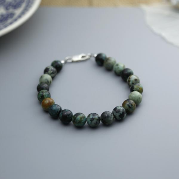 Semi-precious gemstone bracelet african jasper