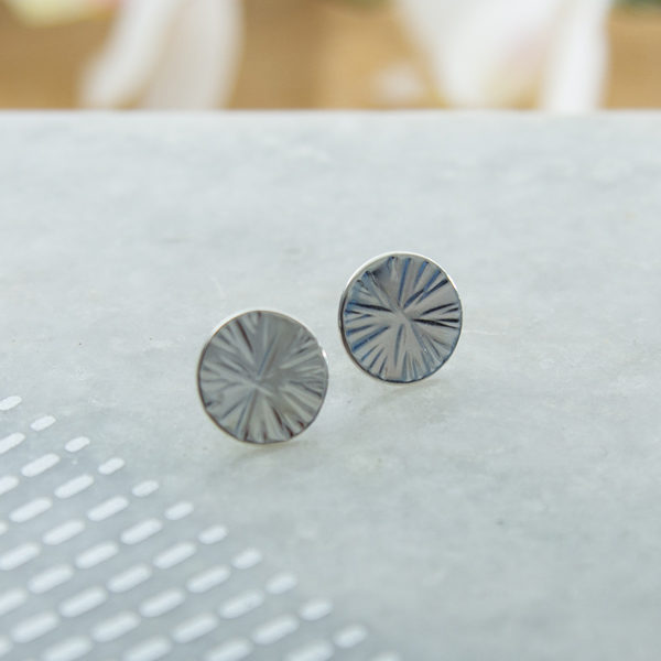 Sterlign silver Cross pein disc studs