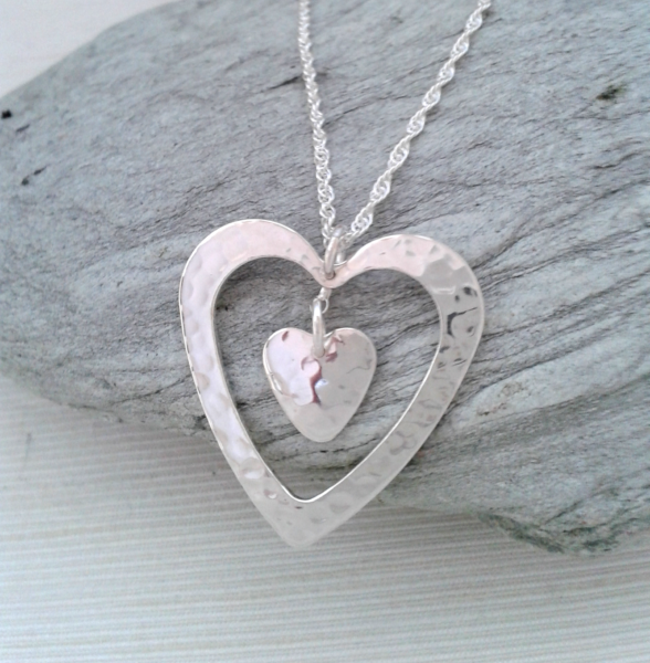 Sterling silver heart within a heart pendant