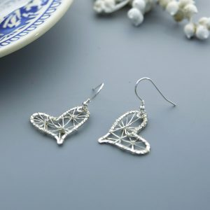 wire heart earrings with a filigree effect