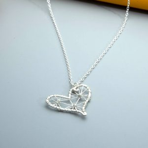 Handmade sterling silver wire wrapped heart pendant