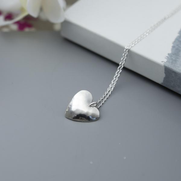 handmade Sterling silver Hammered Heart Pendant