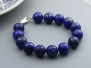 Semi-precious lapis-lazuli gemstone bracelet