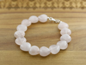 Semi-precious rose quartz heart gemstone bracelet