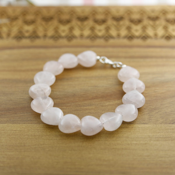 Semi-precious rose quartz heart gemstone bracelet