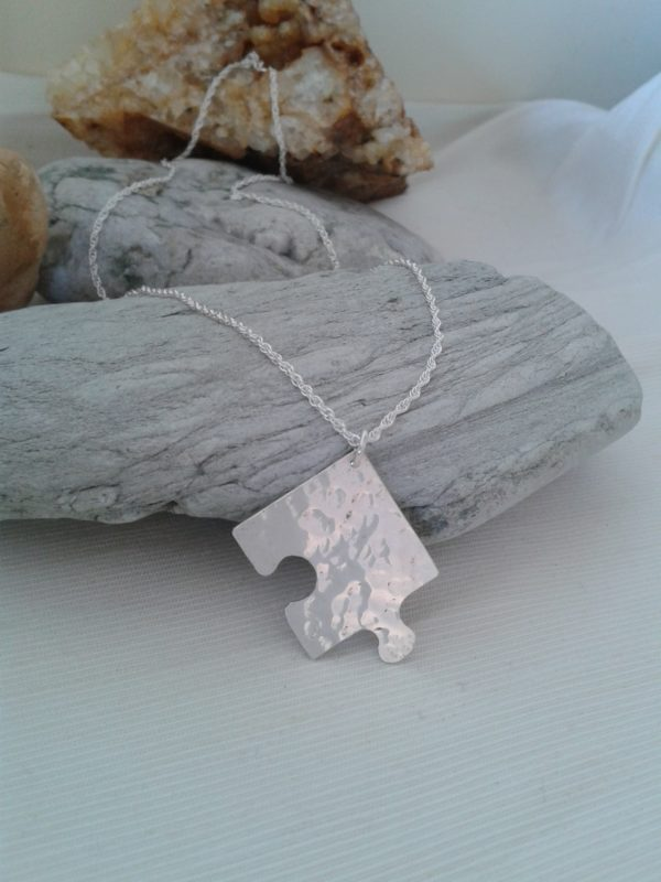 sterling silver jigsaw necklace pendant