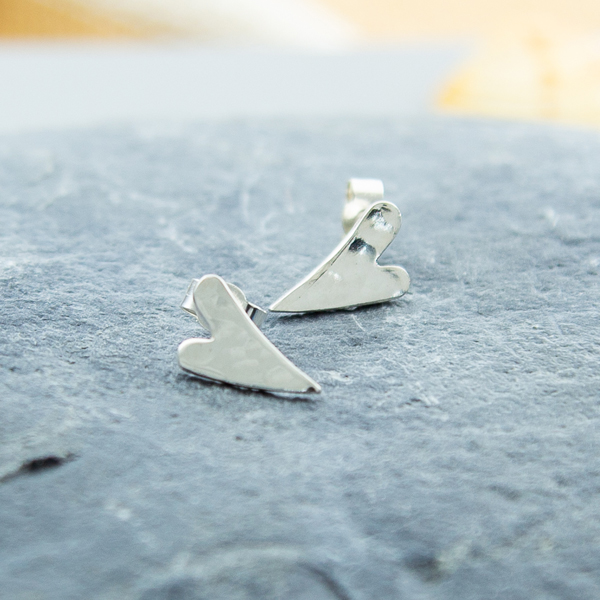 Handmde sterling silver long heart studs
