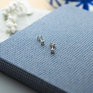 Sterling silver tiny square studs