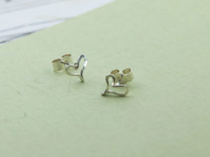 Handmade pair of sterling silver heart studs