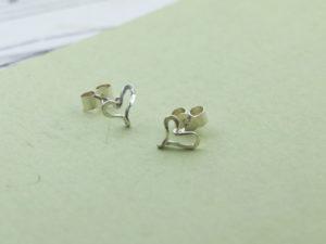 Handmade pair of sterling silver heart studs