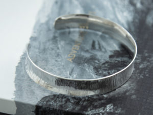 handmade sterlin silver cross pein hammered cuff