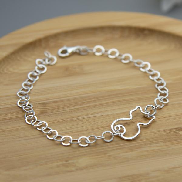 handmade Sterling silver cat bracelet