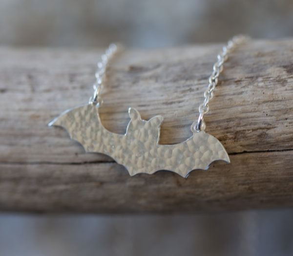 Sterling silver handcat bat necklace