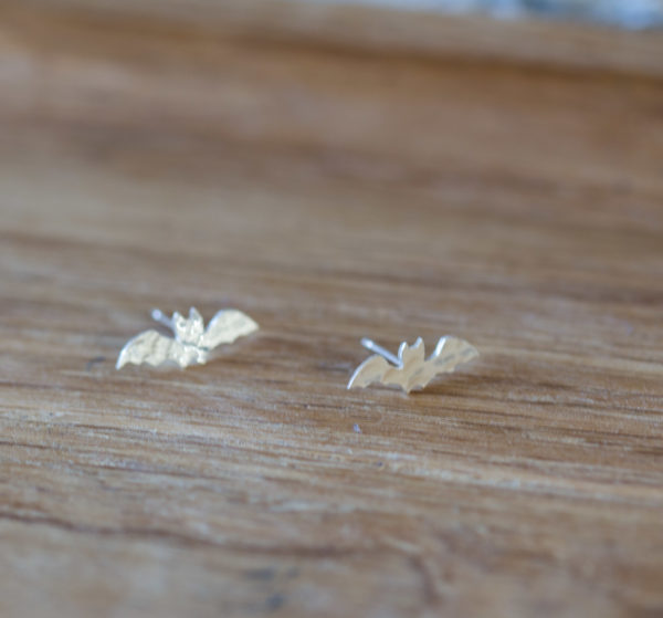 Handcut sterling silver bat studs