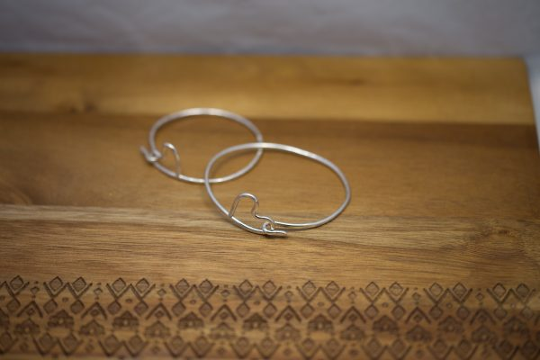 2 sterling silver heart bangles