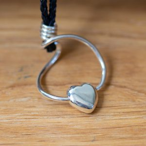 Solid silver cast heart pendant on leather cord
