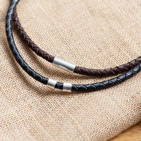 Leather bracelet with sterling silver personalised rings