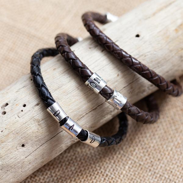 3 leather bracelets