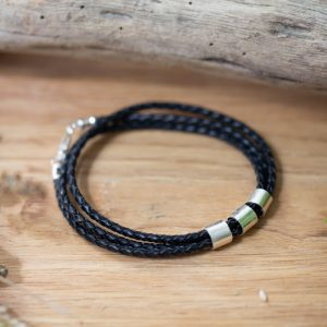 Thin black Leather bracelet wrapped 3 times with sterling silver personalised rings