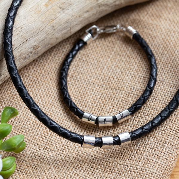 Leather bracelet and neckalce
