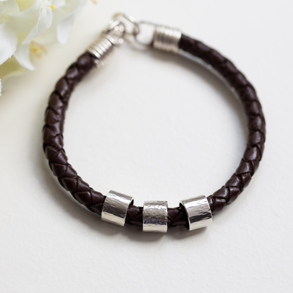 Brown Leather bracelet with sterling silver personalised rings