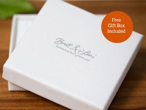 Simple plain box enscribed with Brett & Leni Handcrafted Jewellery