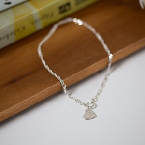 Sterling silver anklet - twisted curb with charm